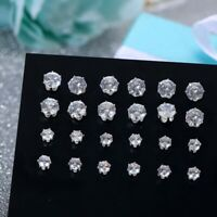 12 Pair/Pack Shiny Wedding for  Women Rhinestone Jewelry  Stud  Earrings  Set