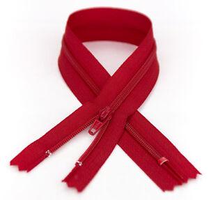 YKK #3 Coil Zipper, 7 Inch Length, Hot Red 519 (10 Pack)