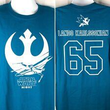 SJ Sharks Star Wars Night 2019 Lando Karlssonian SGA T-Shirt XL Mens X-Wing #65