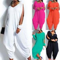 Women's V Neck Loose Baggy Fit Summer/Beach/Party Jumpsuit Romper Harem Suit