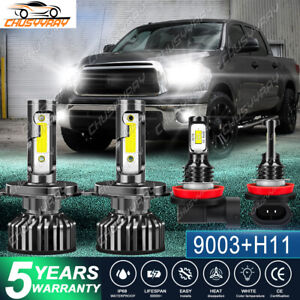 For Toyota Tundra 2014-2020 Combo LED Hi & Lo Beam Headlight+Fog Light Bulb kit