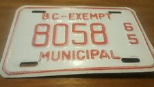 Vintage 1965 British Columbia Exempt Municipal License Plate/ 8058