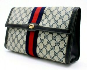 【Rank AB】 Authentic Gucci Sherry Clutch Hand Bag Second GG PARFUMS Vintage Navy