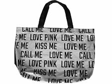 "Victoria's Secret PINK ""Love Me Kiss Me Call Me"" Silver Bling Gym Tote Bag"