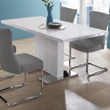 Esstisch Pamela Tisch in weiß Hochglanz Edelstahl ausziehbar 120(160)x80 cm