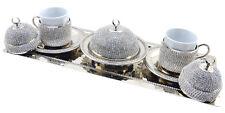 Copper Turkish Greek Arabic Coffee Espresso Cup Saucer Swarovski Set - SILVER