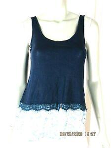 DELIA'S SZ XS Rayon/Nylon Midnight Blue Shiffon Lace Bottom Blouse Top Shirt