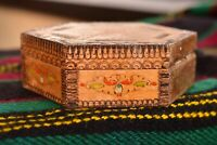 Vintage Hand Carved Trinket Jewelry Box Wooden Box Keepsake Storage Rustic Box