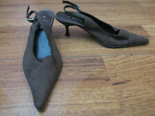 Ladies Brown Suede Look Fiore Kitten Heel Shoes Size UK 4