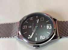 Tommy Hilfiger Mens Black Dial Stainless Steel Mesh Bracelet Watch