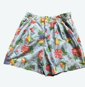 Retro Vintage Liz Claiborne Womens Shorts Petite 10 Denim Floral High Mom Waist