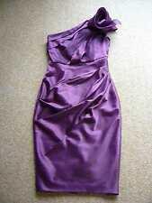 Superbe ASOS prune cocktail/Parti/demoiselle d'honneur Robe Off épaule nue Taille 8