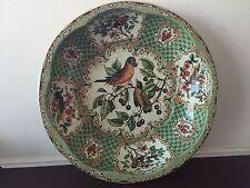 "Vintage Daher Green Tin Decorative Ware Birds Eating Berries Round Bowl 10"""