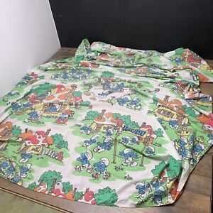 Vintage Smurfs Village Twin Sheet Smurf Fabric Crafts