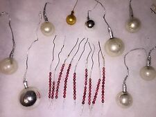 Antique Vintage Beaded Mercury Glass Bead Wrapped Foil Christmas Ornaments 18