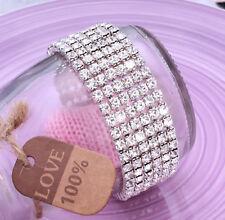 Ladies 6x Row Sparkly Crystal Rhinestone Bracelet Bangle For Women Bride Wedding