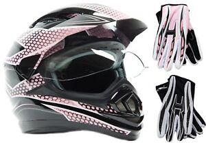 Dual Sport Pink Helmet Motorcycle Motocross Combo Adult DOT