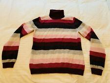 Mainbocher 100% Cashmere Sweater Med Turtleneck Women's Pink Purple Cream