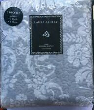 New Laura Ashley Reversible Gray & White Floral Print Quilt & Sham Twin Size