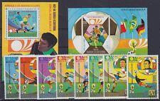 Fußball WM München 1974 Sammlung, 2x Block u. Einzelmarken, gest., Soccer, used