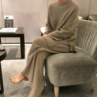 Women's Thick Warm Crewneck Sweater Loose Knitted Wide-leg Pants 2Pcs Suit Maxi