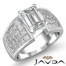 Solid Emerald Diamond Studded Engagement Ring GIA F SI1 14k White Gold 2.74 ct