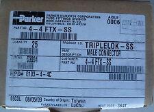 PARKER 4-4-FTX-SS Triple-Lok 37° Straight FTX Lot (25) NEW