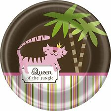 QUEEN OF THE JUNGLE BABY SHOWER Party Supplies Paper Dessert Cake Plates (8 Pk)