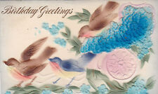 Vintage Postcard BIRTHDAY embossed flocked BIRDS Robins