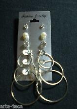 10 confezioni stock 3 coppie cerchi 2 di strass castonati 1 di perle 8 mm affare