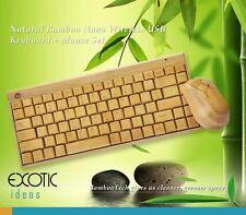 Natural Bamboo Wireless keyboard + Bamboo Mouse Set w Nano USB Wireless Receiver