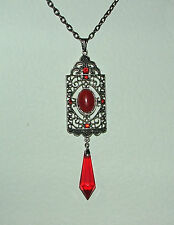 VERY LONG DECO STYLE RED GLASS FAUX CORAL DARK SILVER PLATE PENDANT