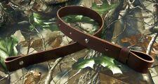 "125-01_LEATHER_RIFLE GUN SLING_Amish_Hand Made_1 1/4""_adj. 30"" -36""_DARK BROWN"