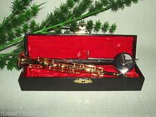 Musikinstrument  Modell Klarinette  Gold Messing  Holzkoffer 16cm Neu