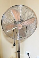 PEDESTAL FAN 50cm OSCILLATING FLOOR AIR COOLING  METAL CHROME SILVER powerful