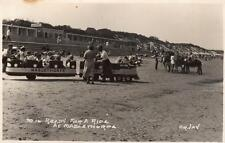 Mablethorpe train ride on sand RP old pc used 1958 Arjay