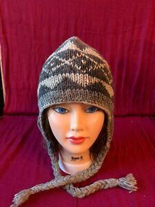 100% WOOL Fleece Lined Hat - Hand Knit in Nepal One Size Grey