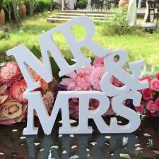 White Mr and Mrs Letters Sign Wooden Standing Top Table Wedding Decorations DI