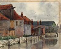 BUILDINGS ON CANAL Antique Watercolour Painting c1920 IMPRESSIONIST