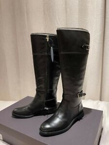 Brand New Enzo Angiolini Womens 7M Leather Tall Zip Flat Riding Knee High Boots