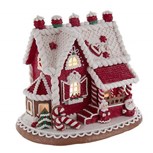Kurt S. Adler 9-Inch Red and White Santa and Mrs. Claus Gingerbread House, Multi