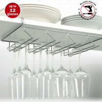 Kitchen Mounted Under-Shelf Rack Wine Glass Mug Storage Hanging Stemware Holder