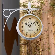 Zweiseitige Wanduhr Retro Look Grand Central Bahnhofsuhr Antik Stil Uhr Weiß