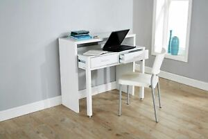 White Desk Extending Console Table Home Office Computer Storage Seconds