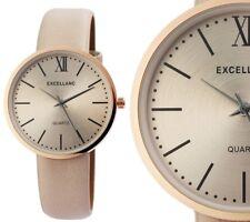 Damen Armbanduhr Light-Taupe/Rosegold Kunstlederarmband 1900112 von Excellanc