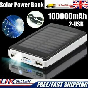 REAL 100000mAh Solar Battery Power Bank Portable Charger Panel for Mobile Phone