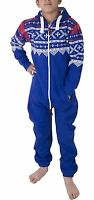 Unisex Kids Girls Boys Aztec Fleece Soft Jumpsuit Playsuit 2-13 Years NEW