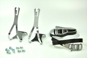 [US Seller] New BIKE Pedal STEEL TOE CLIPS & LEATHER STRAPS ( Large ) - Black