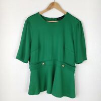 Eloquii Womens Size 16 Green Short Sleeve Blouse Top Office Business Holiday
