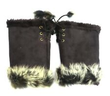 Black Fingerless Gloves with Faux Fur